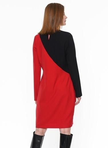 Ekol Ekol 3635015 Yuvarlak Yaka Uzun Kollu Taş Detaylı Omuz Süslü Diz Boy Kadın Elbise Kırmızı